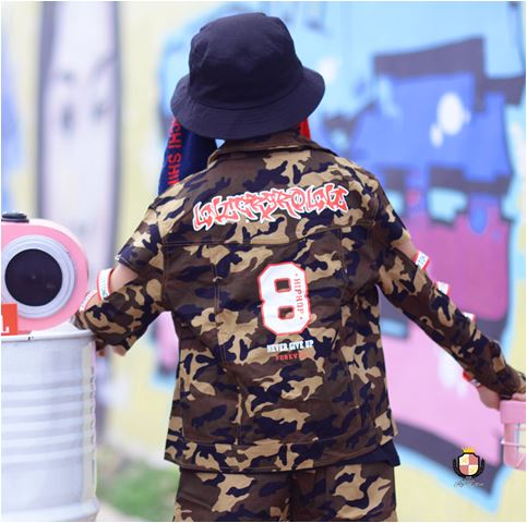10aa71bf08a15 迷彩 ジャケット キッズダンス ヒップホップ ストリート ベスト 子供 衣装 HIPHOP STREET  商品NO169