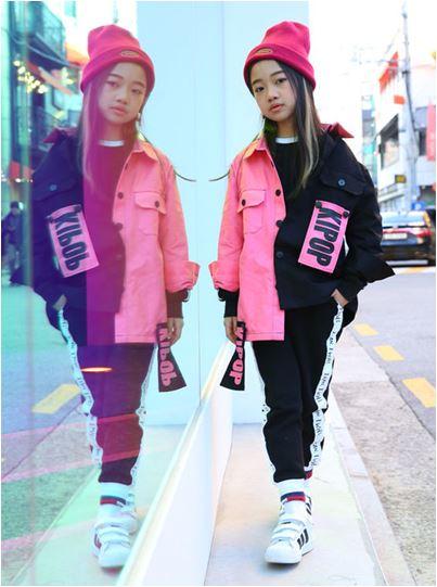 0e216a251d3f0  ジャケット KIPOP JACKET Pink Black ジャケット キッズダンス ジャズ ヒップホップ ストリート K-POP  商品 NO(KIPOP-4)