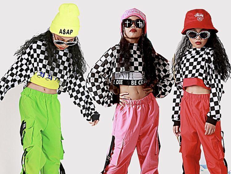 f4762baf6242c ... crop top チェス柄 クロップトップ キッズダンス ジャズ ヒップホップ ストリート ガールズ 子供 ステージ 衣装 KIDS JAZZ DANCE  HIPHOP GIRLS  商品NO177